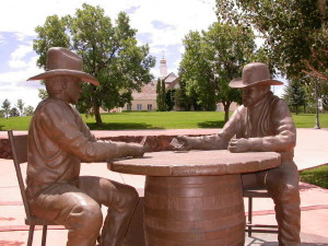 Statue commemorating card game in which Show Low derived its name.