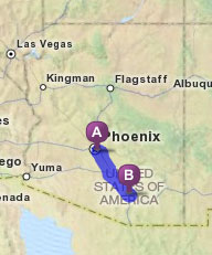 Arizona Map with Tucson and Phoenix