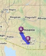 Arizona Map with Tucson and Phoenix