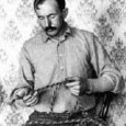 Tom Horn. Pre-1903. Courtesy of Wyoming State Museum. He is braiding a rope for his friend Charles B. Irwin, to be used for rodeo performances. See additional information on Wikipedia.