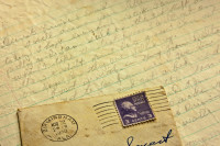 Postmark, Stamp and Letter Background circa 1950