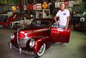 Erine Adams, creator of dwarf cars, at the Dwarf Car Museum in Maricopa. Photo credit: Marilyn Szabo