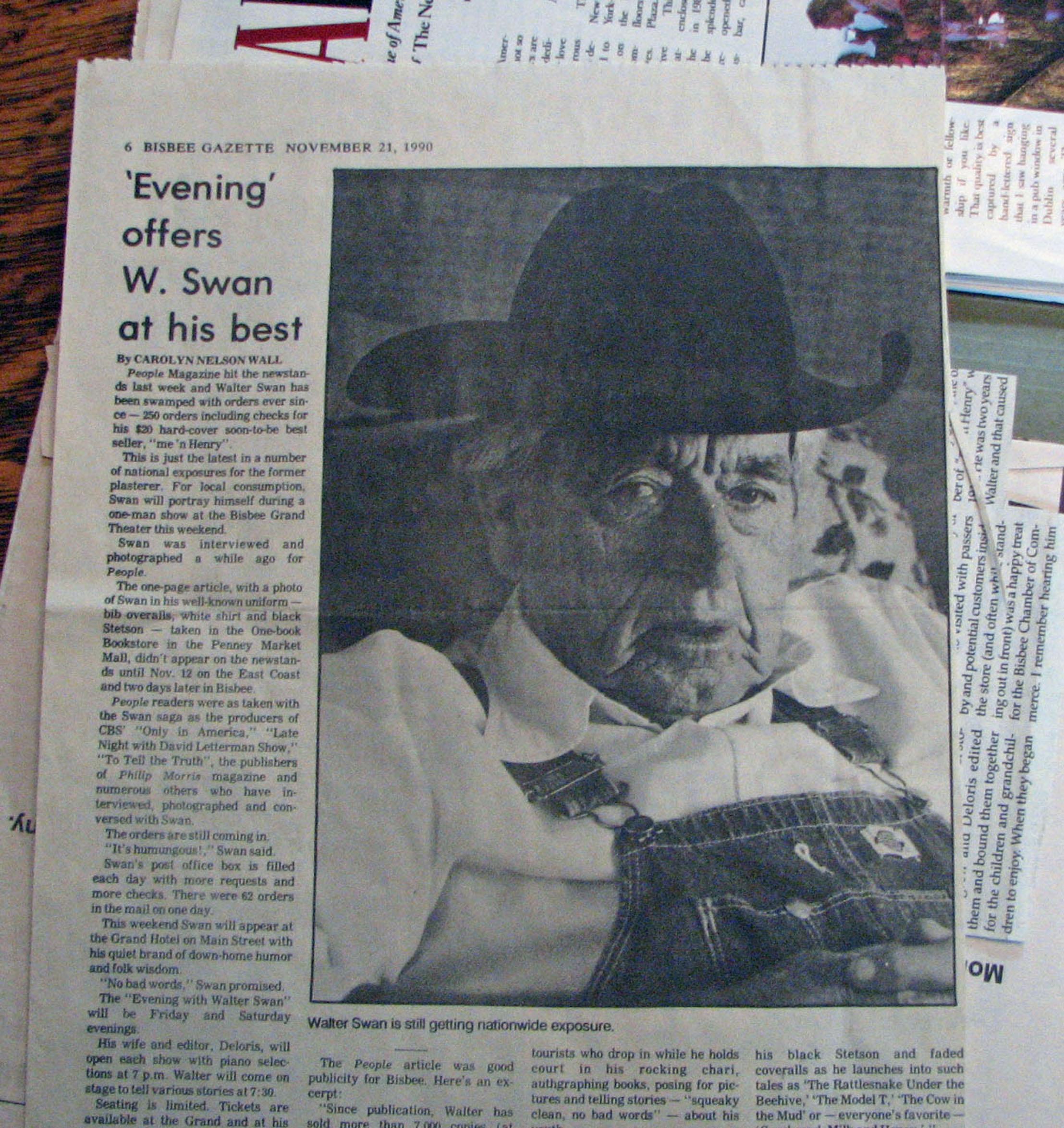Walter Swan in Bisbee Gazette