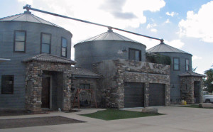 Gilbert home is constructed with three steel granaries. Photo Credit: Sam Lowe