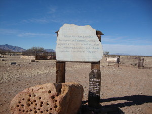 """Sign at the Pearce Cemetery, courtesy of Paranormal Intuitive Investigators. (Click to enlarge.) """"Where Abrahan Lincoln's body guard and General Sherman's adjutant are buried, as well as Union and Confederate Soldiers, and colorful characters from Pearce's """"Hey Dey."""""""