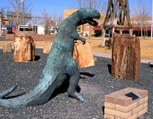 Bronze dinosaur statue was donated to the City of Holbrook. Photo Credit: Sam Lowe
