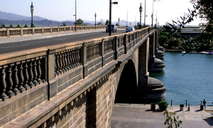 Lights on the London Bridge, now located in Lake Havasu City, were once canons. Photo Credit: Sam Lowe